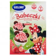 Gellwe Minnie Babeczki o smaku czekoladowym z kremem truskawkowym oraz posypką cukrową 230 g