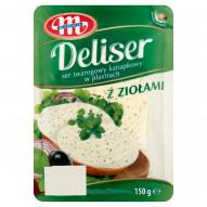 Mlekovita Deliser Ser twarogowy kanapkowy w plastrach z ziołami 150 g
